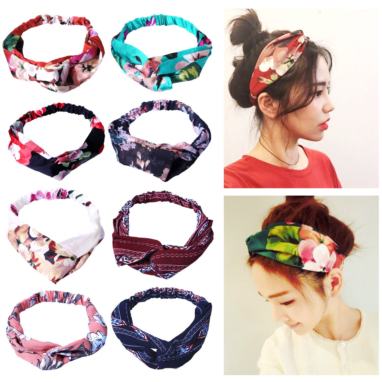 Amandir 8 Pack Headbands for Women Boho Cute Twist Headband Criss Cross Headband
