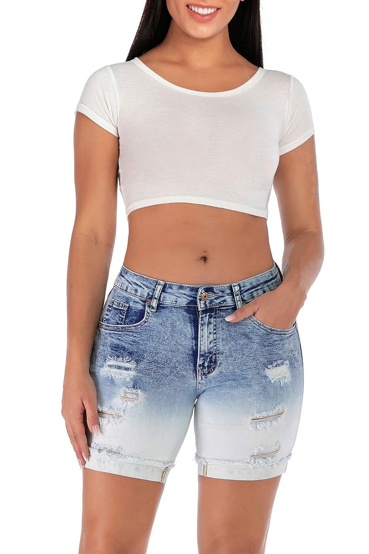 Misinicolin Womens Distressed Stretch Bermuda Short Jeans Skinny Denim Shorts