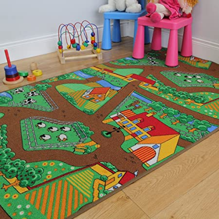 The Rug House Fun Kid\'s Country Farm Life Mat Animal and Tractor Rug ...