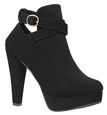 cce2d4798c6 MVE Shoes Women s High Heel Ankle Booties - Strappy Platform Stylish Booties