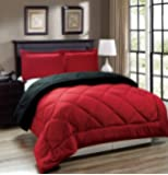 Legacy Decor 3pc Down Alternative, Red and Black Reversible Comforter Set, Fits Full and Queen Size Beds