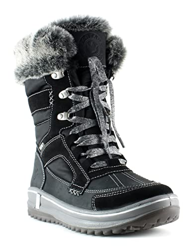 7d0fd3540 Amazon.com | Santana Canada Premium Women's Waterproof Cold Weather Marta  Mid-Cut Boot with Luxe Fur Trim Black Size 6 | Boots