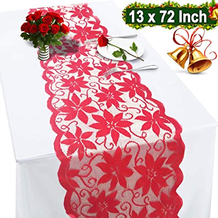 Christmas Table Runner Decorations Fall Poinsettia Flowers Table Runner 72 X 13 Inch Lace Fall for Christmas Wedding Table Linens Dresser Scarves Table Decoration for Christmas Table Party Supplie best Christmas table runners