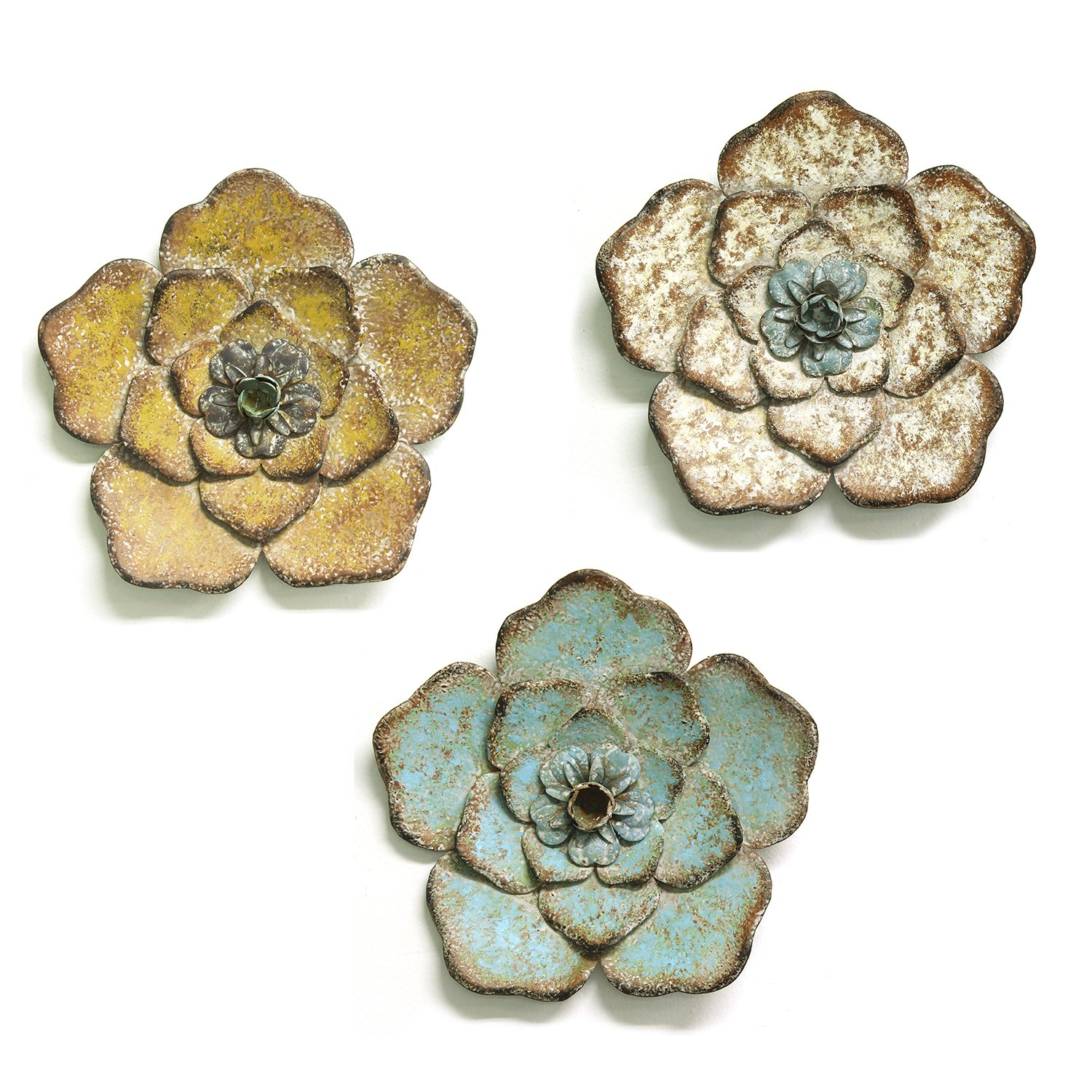 Stratton Home Decor Set of 3 Rustic Flower Wall Decor, Multicolor by Stratton Home Decor