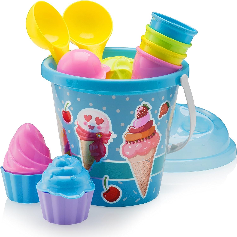 Top Race Ca Beach Toys Cake Series - Moldes de Arena, Juego de 14 Piezas con Cubo Grande de Helado de 22,86 cm, Color Azul