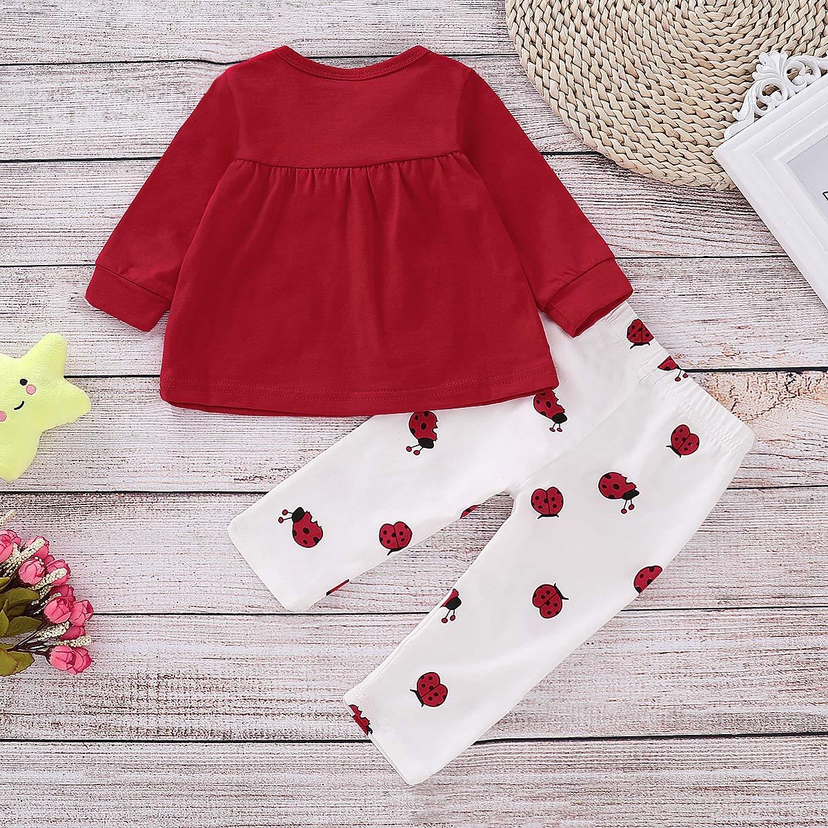Puseky 2 Unids//Set Baby Girl Kids Toddler Ladybird Estampado de Manga Larga Bowknot Tops Pantalones Trajes Set