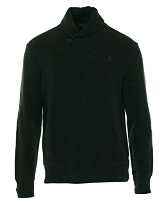 Polo Ralph Lauren Mens French Rib Shawl Neck Sweater - S - Black Marl  Heather