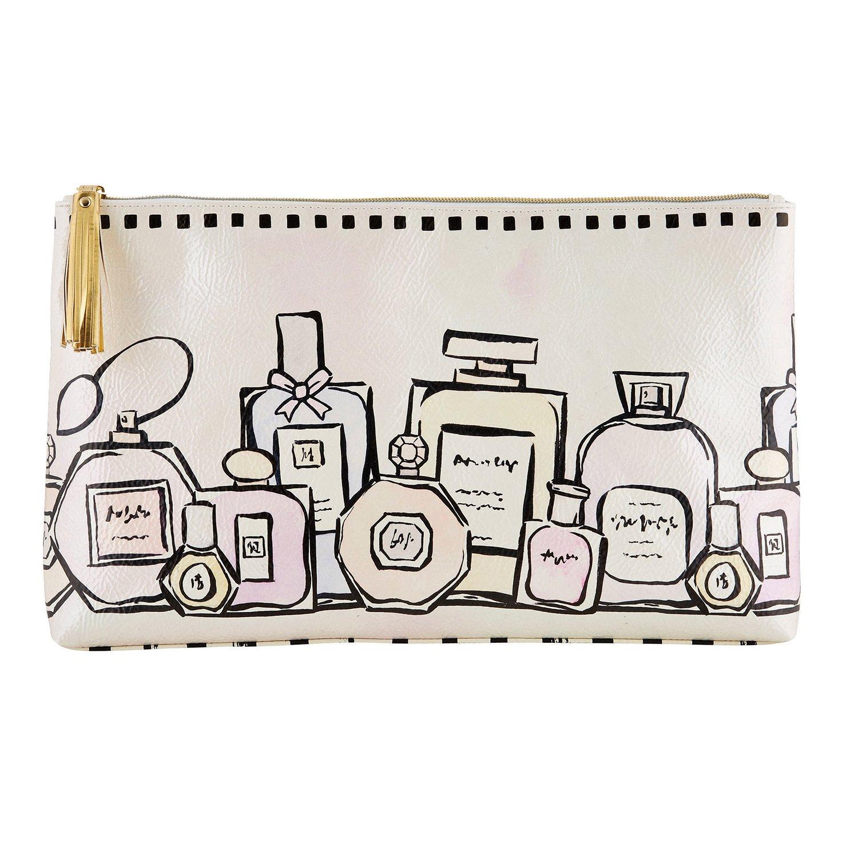 Vintage Perfume Bottles Design 15 x 9 Inch Oil Cloth Pouch Bag by Santa Barbara Design Studio