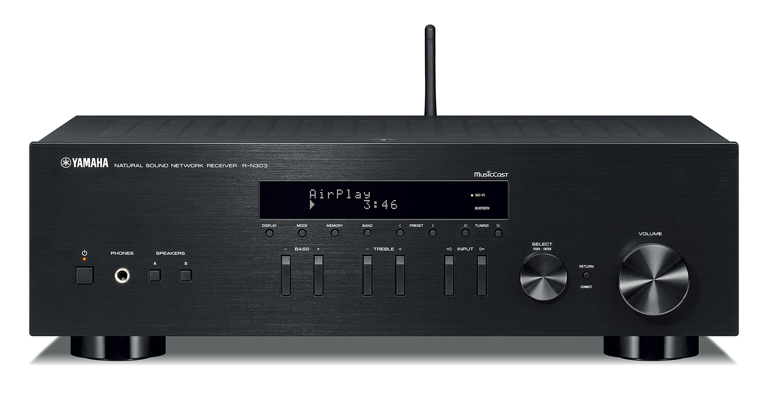 Yamaha R-N303BL Stereo Receiver with Wi-Fi Bluetooth & Phono Black by Yamaha