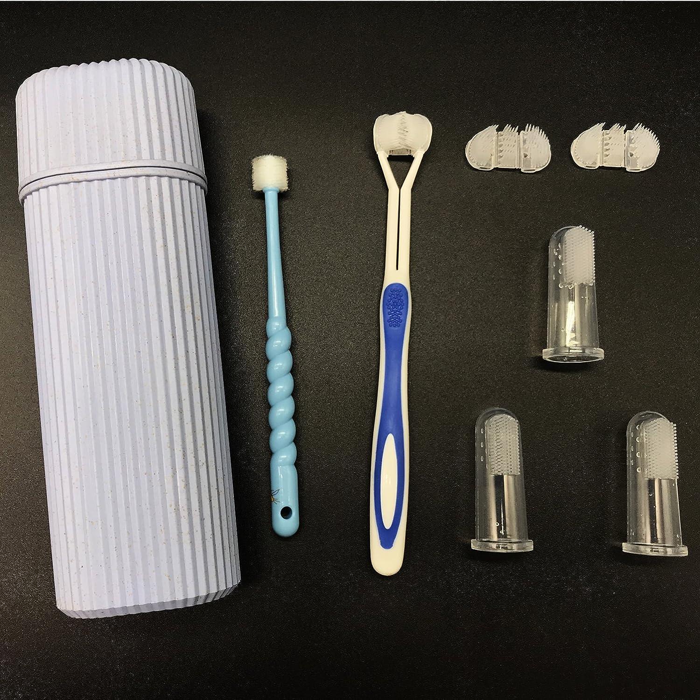Huan Tai Kit de Mantenimiento de Cepillo de Dientes Dental Para Mascotas, Cepillo de Dientes de 360 Grados*1Cepillo de Dientes de Silicona*3+Cepillo de ...