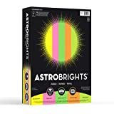 """Neenah Astrobrights Colored Paper, 8.5"""" x 11"""", 24 lb/89 gsm,""""Neon"""" 5-Color Assortment, 500 Sheets (20270)"""