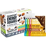 Quantum Energy Squares, Coffee-Infused Energy Bars, Variety Pack, Box of 8 Bars
