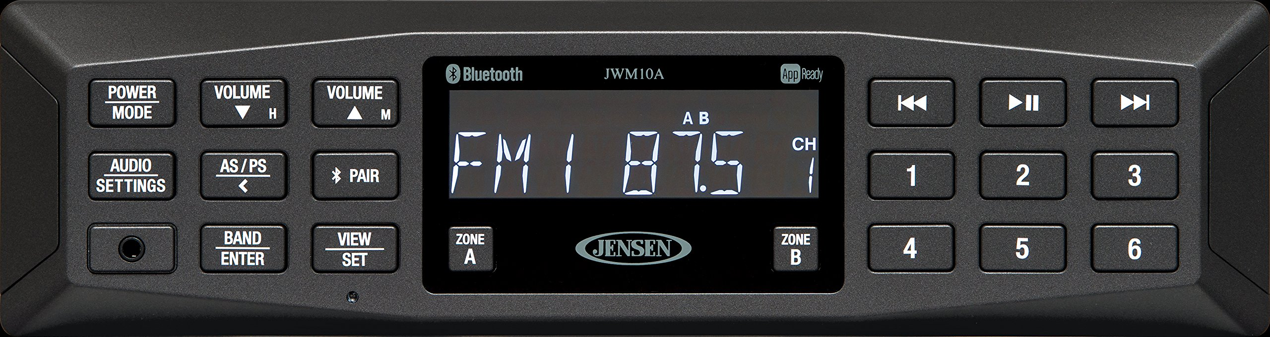 Jensen JWM10A AM/FM | AUX | Bluetooth | APP Ready Wallmount Stereo, 4 Channels 6W per CH, 30 Programmable Station Presets (18FM/12AM), Receives Bluetooth Audio (A2DP) and Controls (AVRCP) from Devices