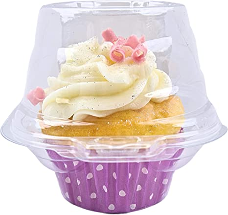 Clear Plastic /& BPA-Free- FoodieJoy Individual Cupcake Containers 5 dozens 60 counts Stackable Single Compartment Cupcake Carrier Holder Box Deep Dome