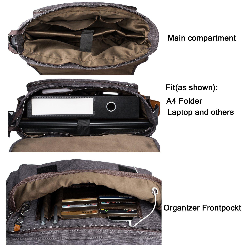 Estarer Laptop Messenger Bag 17-17.3 Inch Water-resistance Canvas Shoulder Bag for Work College by Estarer (Image #3)