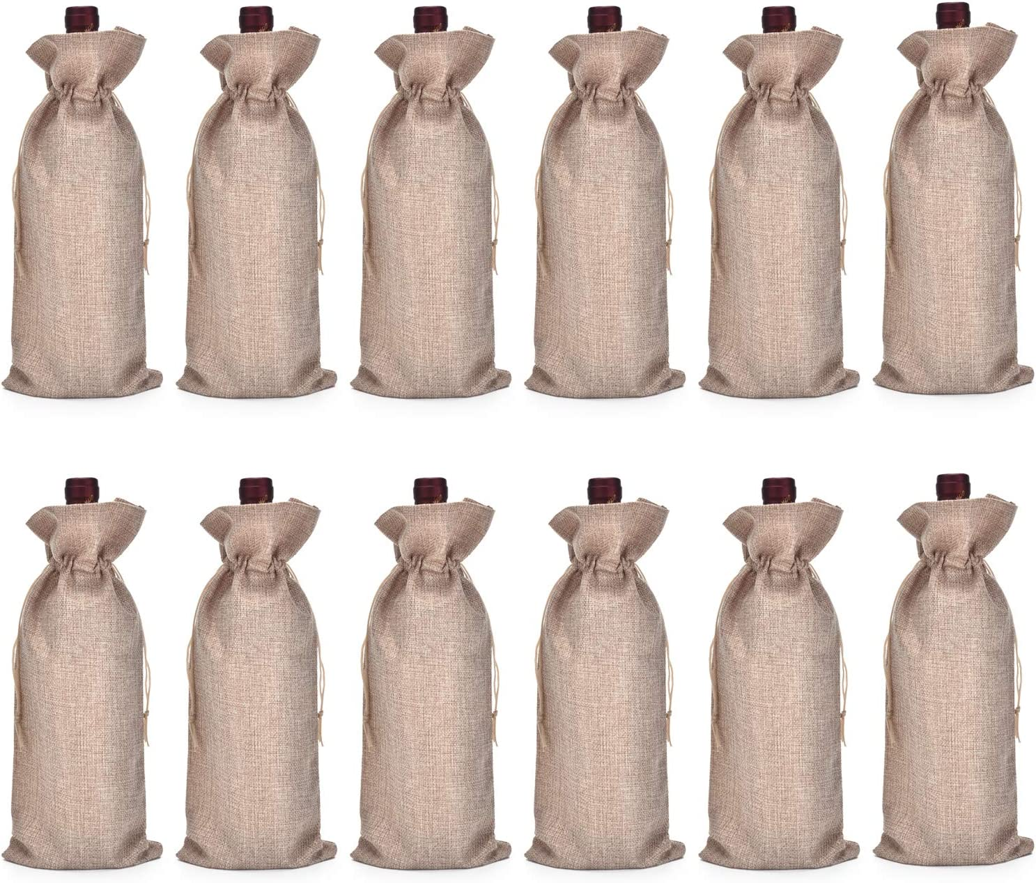 Burlap Wine Bag, 12 Pieces Wine Bottle Gift Bags with Drawstring for Wedding, Party Favors, Christmas, Holiday and Wine Tasting Party Supplies (Natural)