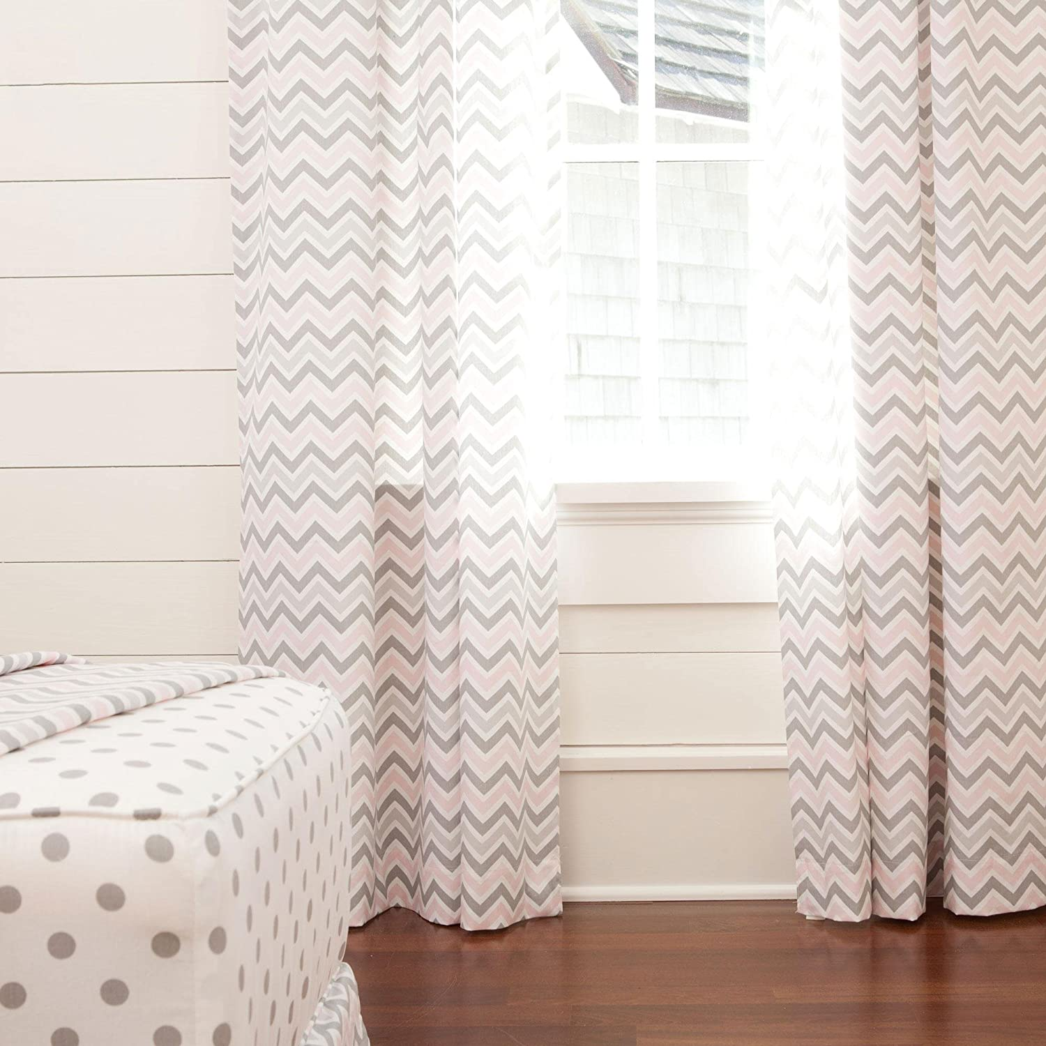 Carousel Designs Pink and Gray Chevron Drape Panel Standard Lining 42-Inch Width 84-Inch Length