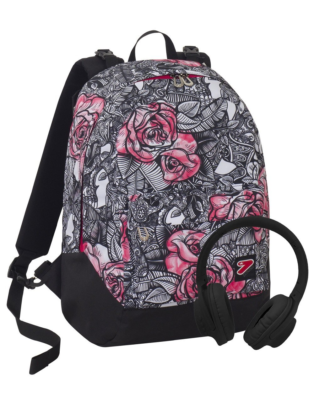 Zaino SEVEN THE DOUBLE - ROUGE - Nero Rosa - cuffie stereo Soft Touch! 2 zaini in 1 REVERSIBILE