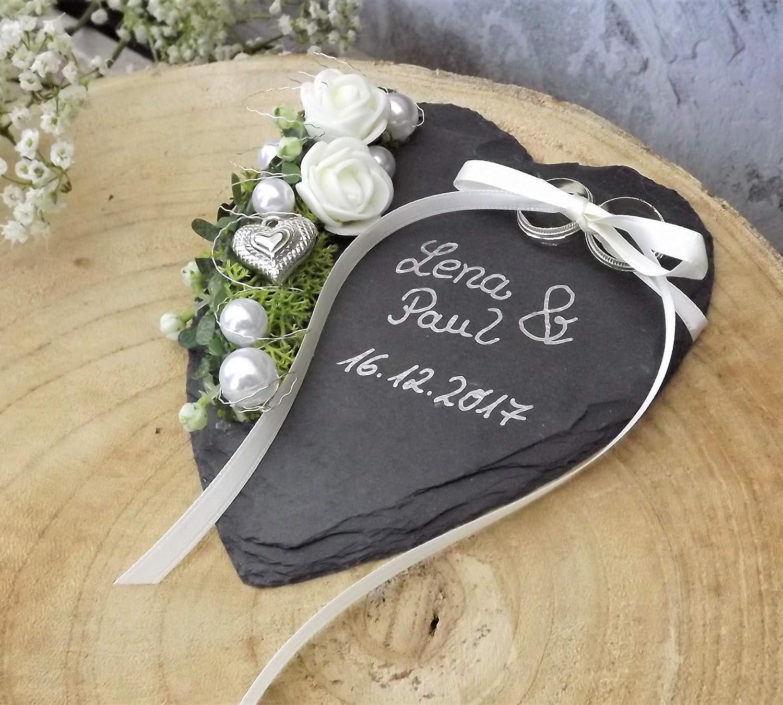 Anello cuscino ardesia cuore rose crema con lettering nome matrimonio