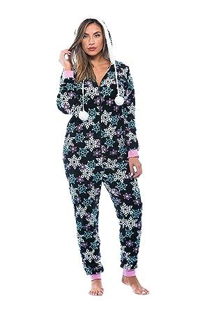838ade3995 Amazon.com  Just Love Adult Onesie   Pajamas Black - Snowflake Small ...