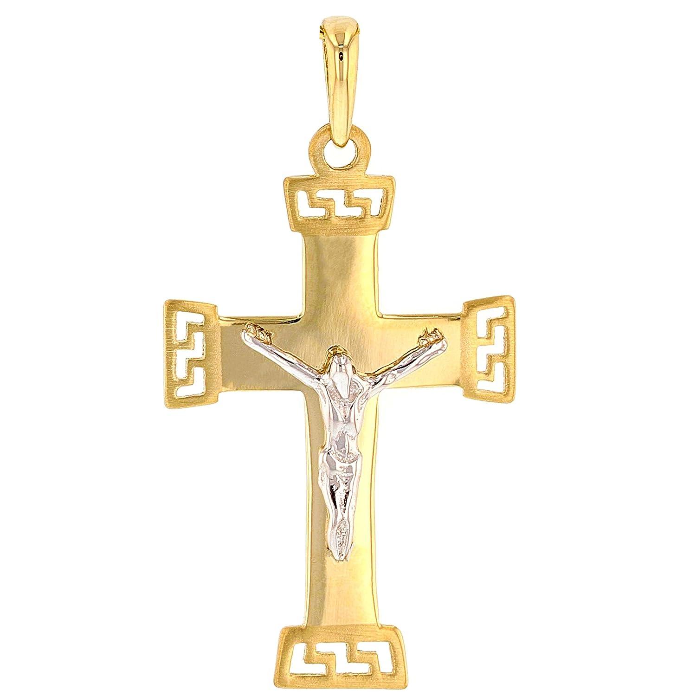 Solid 14k Gold Eastern Orthodox Cross Crucifix Charm Pendant
