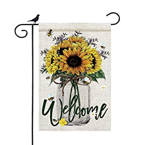 Floridliving Welcome Garden Flag (sun flower) Double Sided 12x18 Inch Garden Yard Flags Banner for Farmhouse Patio Lawn Holiday Indoor/Outdoor Decoration