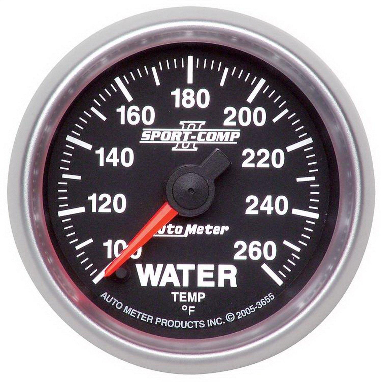 Auto Meter 3655 2-1//16 100-260 F Full Sweep Electric Water Temperature Gauge