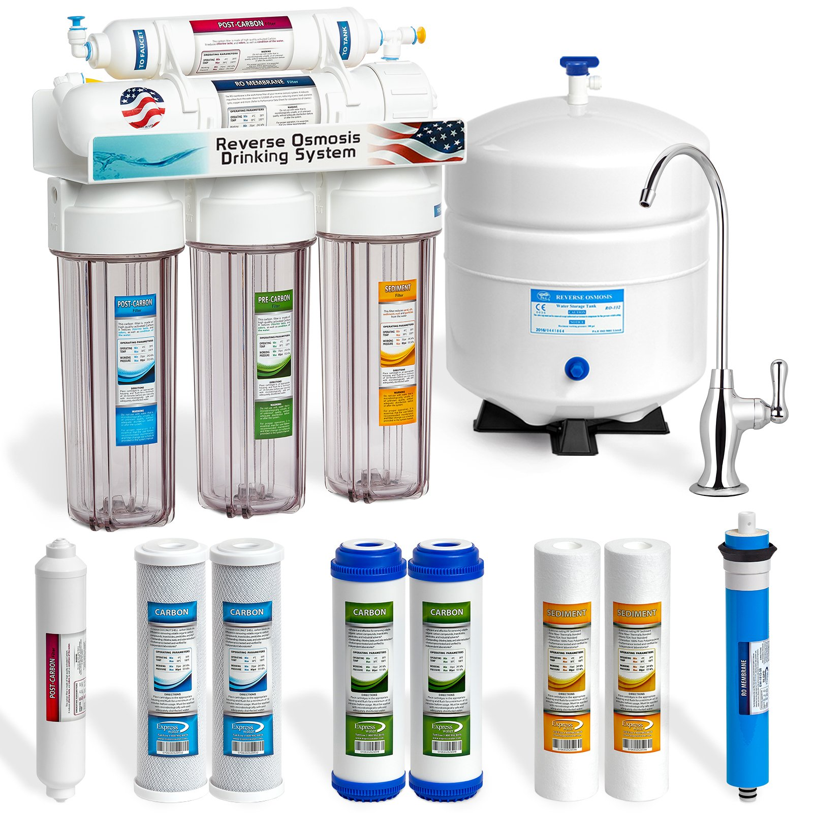 Express Water 5 Stage Under Sink Reverse Osmosis Filtration System 50 GPD RO Membrane Filter Deluxe Faucet Clear Housing Ultra Safe Residential Home Drinking Water Purification Extra Set of 4 Filters