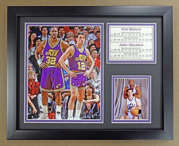 John Stockton and Karl Malone Utah Jazz Double Matted Photo Frame