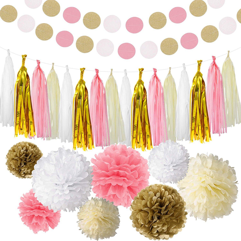 Baby shower decoration amazon bash stack 35 piece pink white ivory gold tissue paper pom poms flowers tissue tassel glitter junglespirit Choice Image