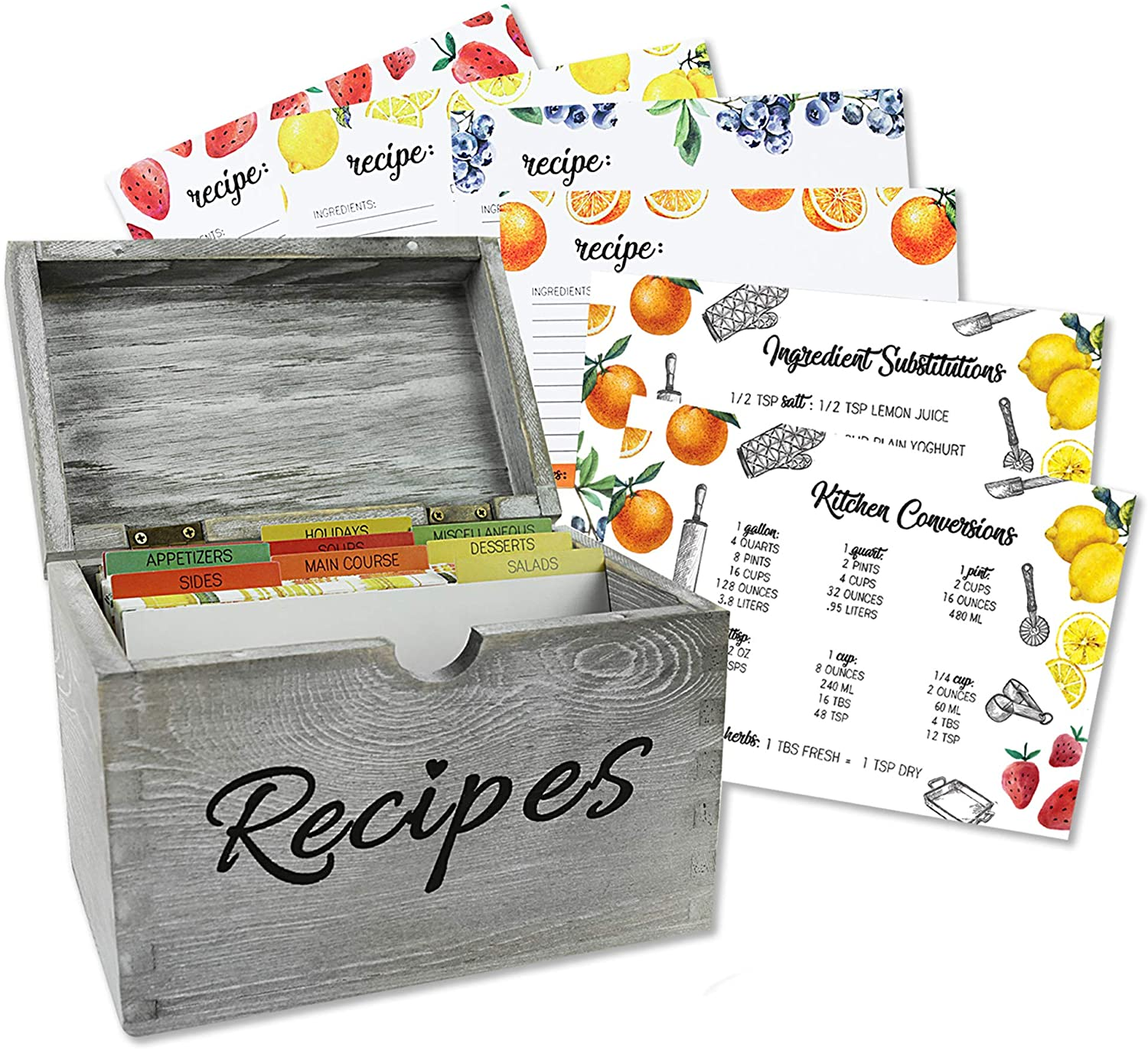 Baking & Beyond Recipe Box - Vintage Style Solid Pinewood Recipe Organizer - Recipe Card Holder Box with 100 4x6 inch Recipe Cards, 9 Dividers, 1 Conversion & 1 Substitution Cards (7x5.3x4 Inches)