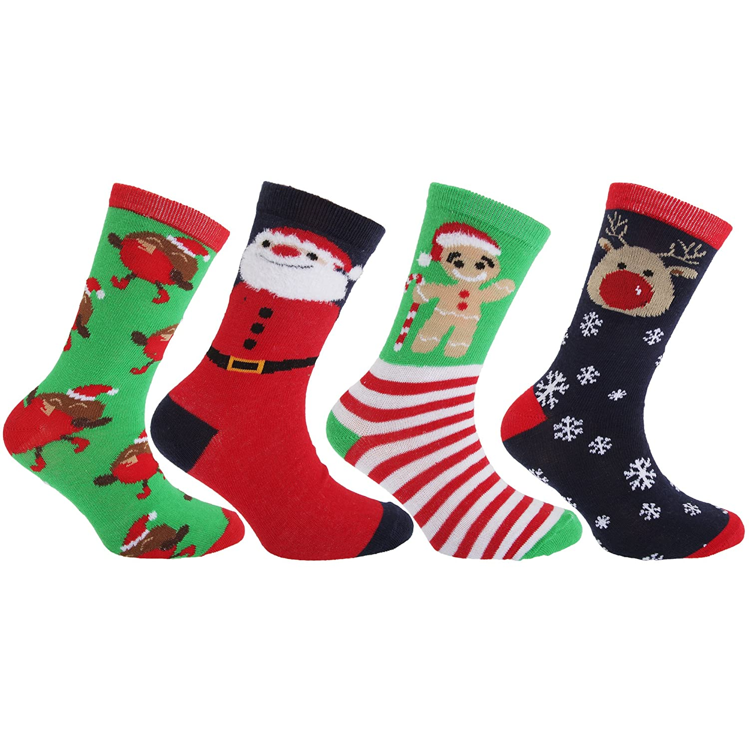 FLOSO® Childrens/Kids Christmas Character Novelty Socks (Pack Of 4 ...