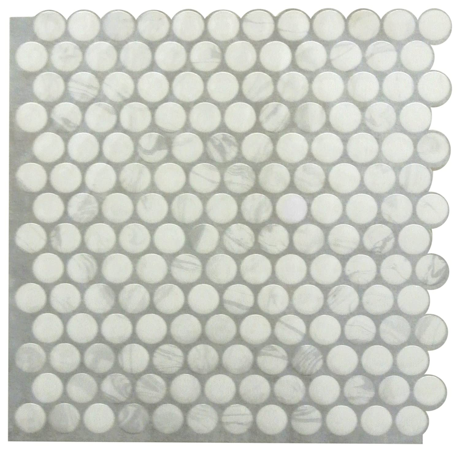 4 Pack 10.5x10.5 white RoomMates TIL3463FLT Classic Marble Penny StickTILES