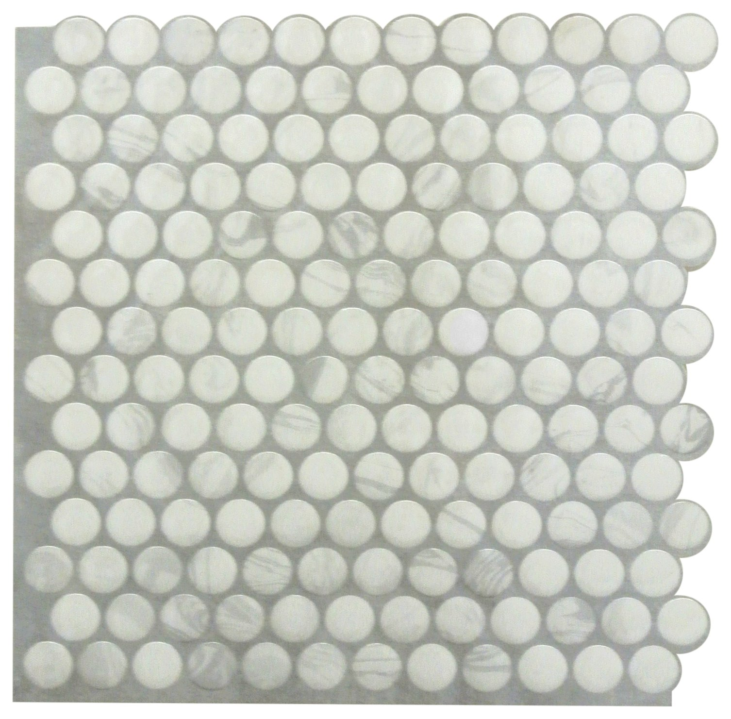 RoomMates TIL3463FLT Classic Marble Penny StickTILES - 4 Pack 10.5x10.5 white