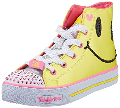 Skechers Shuffles-Sparkle Smile, Baskets Hautes Fille, Multicolore (Yellow/Hot Pink), 28 EU