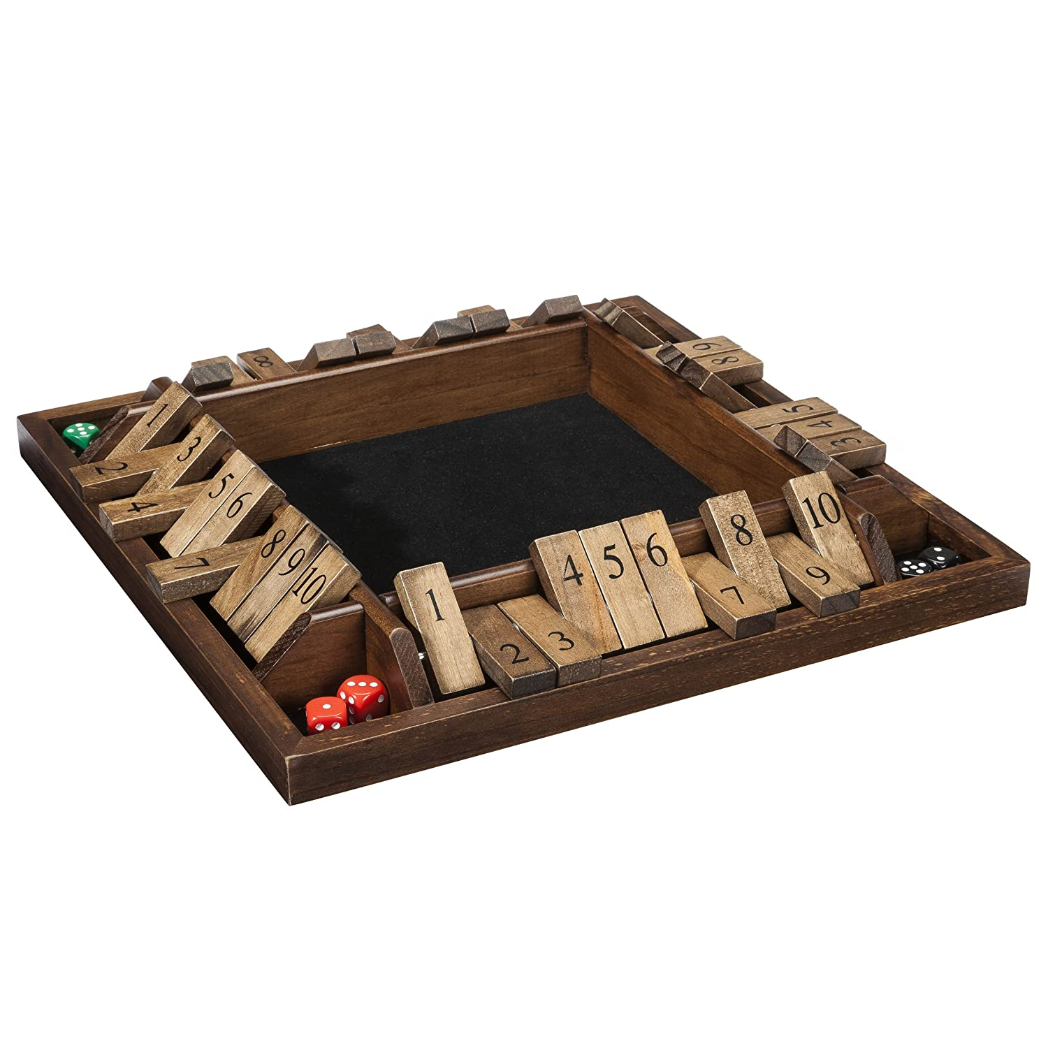 Amazon Com We Games 4 Player Shut The Box Travel Size 8 Inches