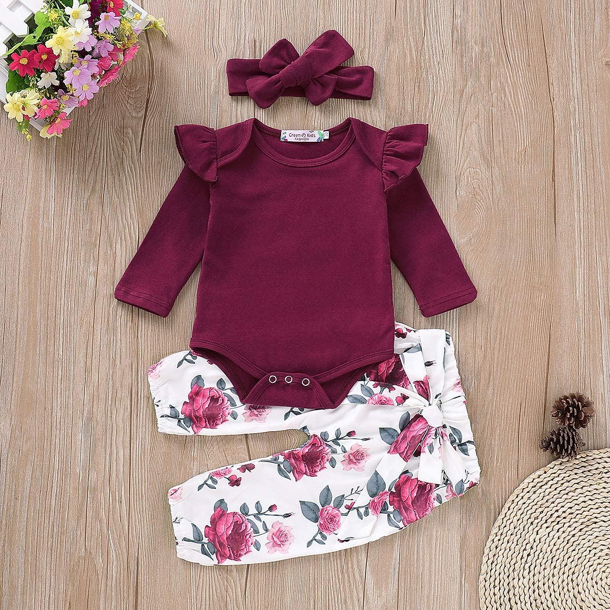 Toddler Kid Baby Girl Clothes Ruffle Sleeve Floral Romper Headband Summer Outfit