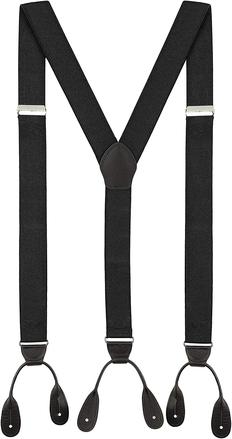 Luther Pike Seattle Suspenders for Men Leather Button End Elastic Tuxedo Y Back Mens Pant Braces