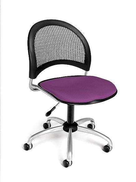 OFM Moon Series Armless Fabric Swivel Chair, Plum
