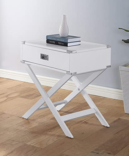 GTU Furniture X Base 1 Drawer Wood Accent Storage Nightstand/Side Table/End Table White - a good cheap living room table