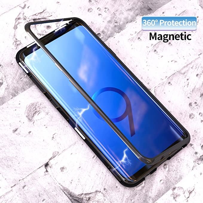 sale retailer bc045 2dbe5 Magnetic Adsorption Flip Case for Samsung Galaxy S8 S9 Plus Tempered Glass  Back Cover Luxury Metal Bumpers Hard Case (Clear Black, Samsung S8 Plus)
