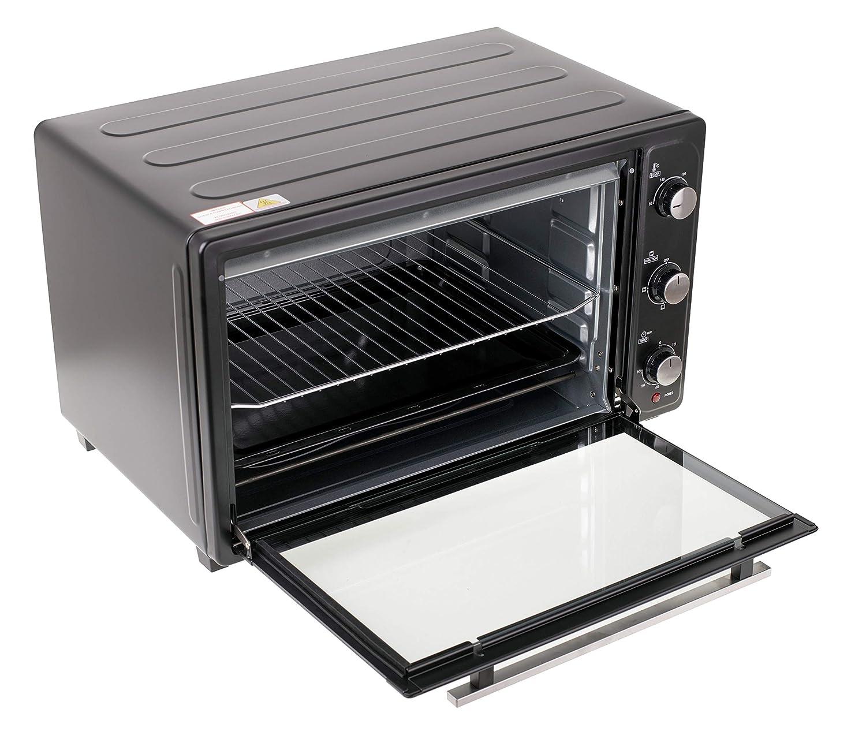 Grillrost gro/ßer Backofen mit Backblech Pizzaofen 4 Heizelemente aus Edelstahl 66 Liter 90-230/°C Timer 60 min schwarz Zubeh/ör MESKO MS 6021 Minibackofen 3000 W