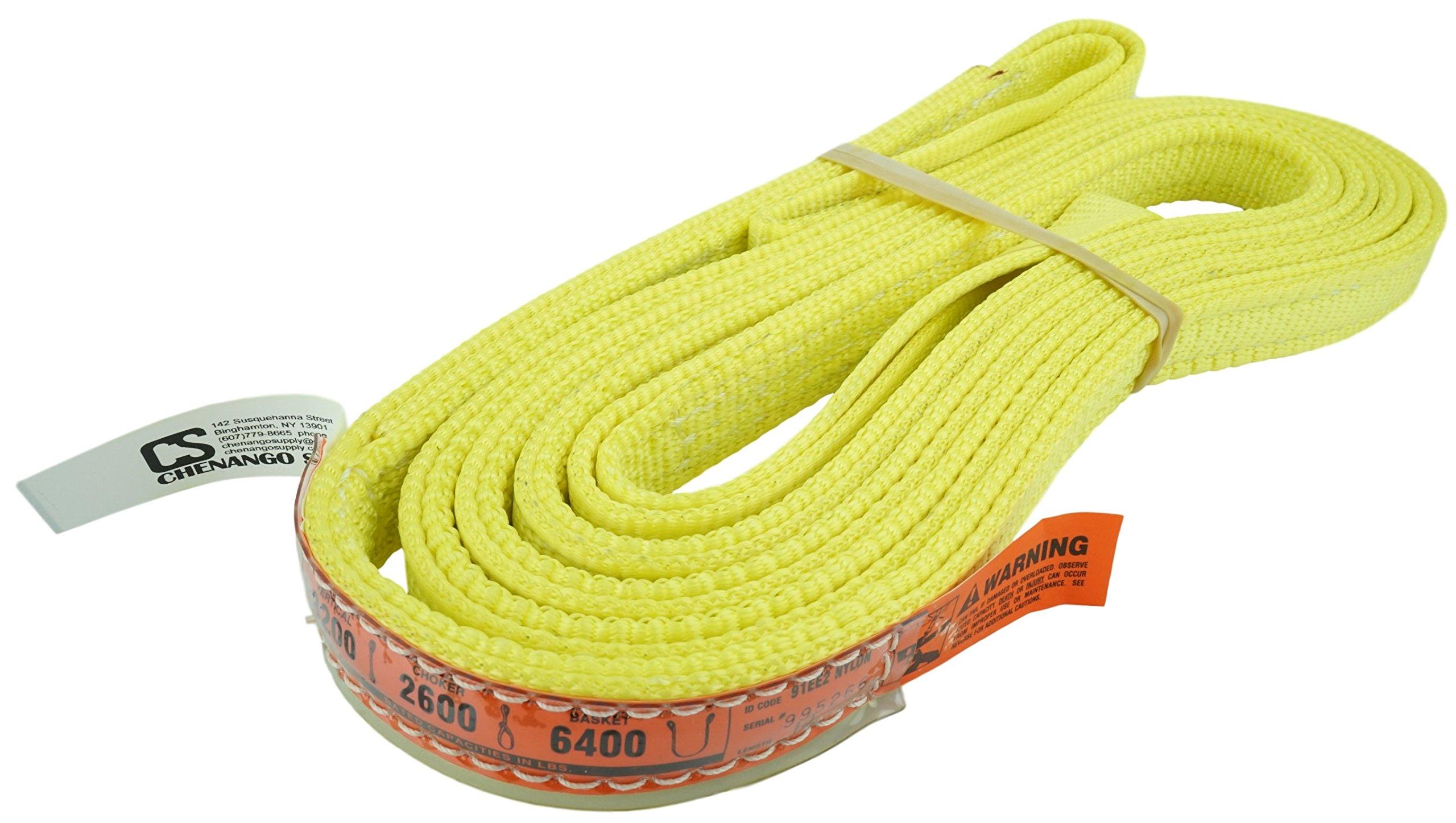 DD Sling (USA Made). Multiple Sizes in Listing! 1'' x 12', 2 Ply Twisted Eye, Nylon Lifting Slings, Eye & Eye, Heavy Duty, 3,200 lbs Vertical, 2,600 Choker, 6,400 Basket Load Capacity (1'' x 12')