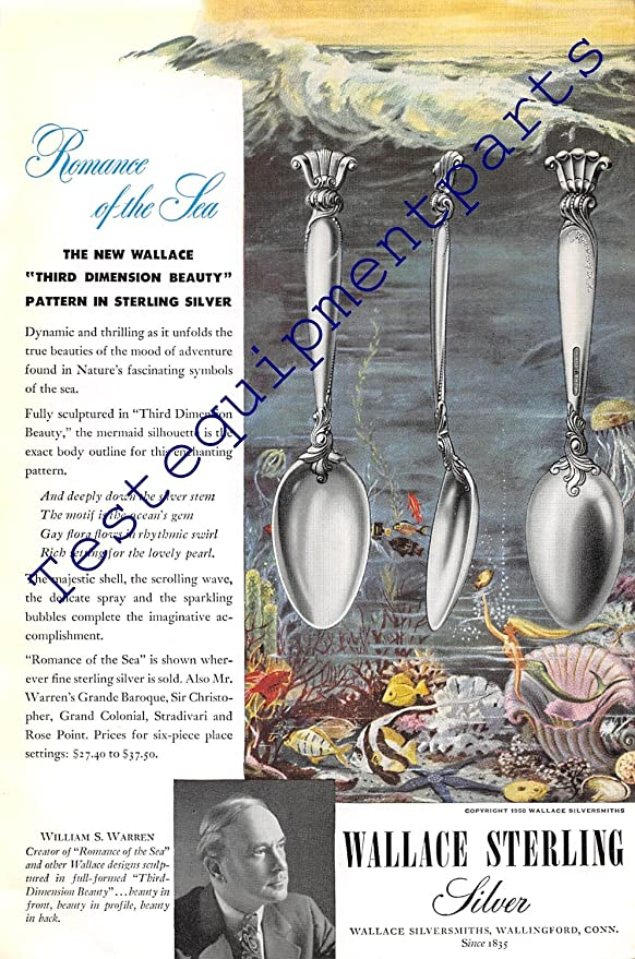 Romance of the Sea Vintage Print Ad 1950 Wallace Sterling Silver
