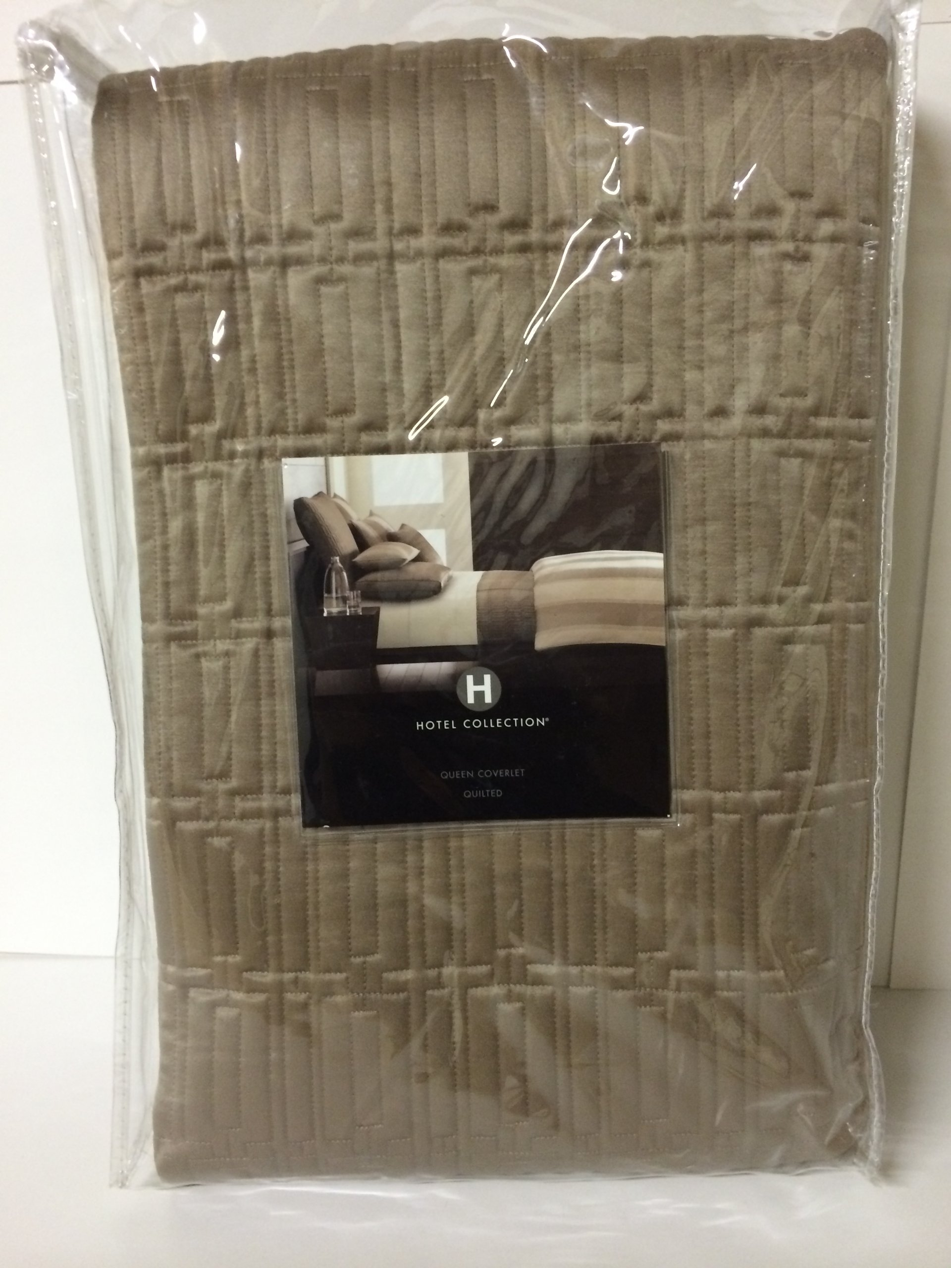 Hotel Collection WIDE STRIPE Quilted Queen Coverlet Bronze