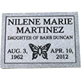 Cemetery marker affordable solid granite. 100% monument grade granite custom engraved with design choices and your informatio