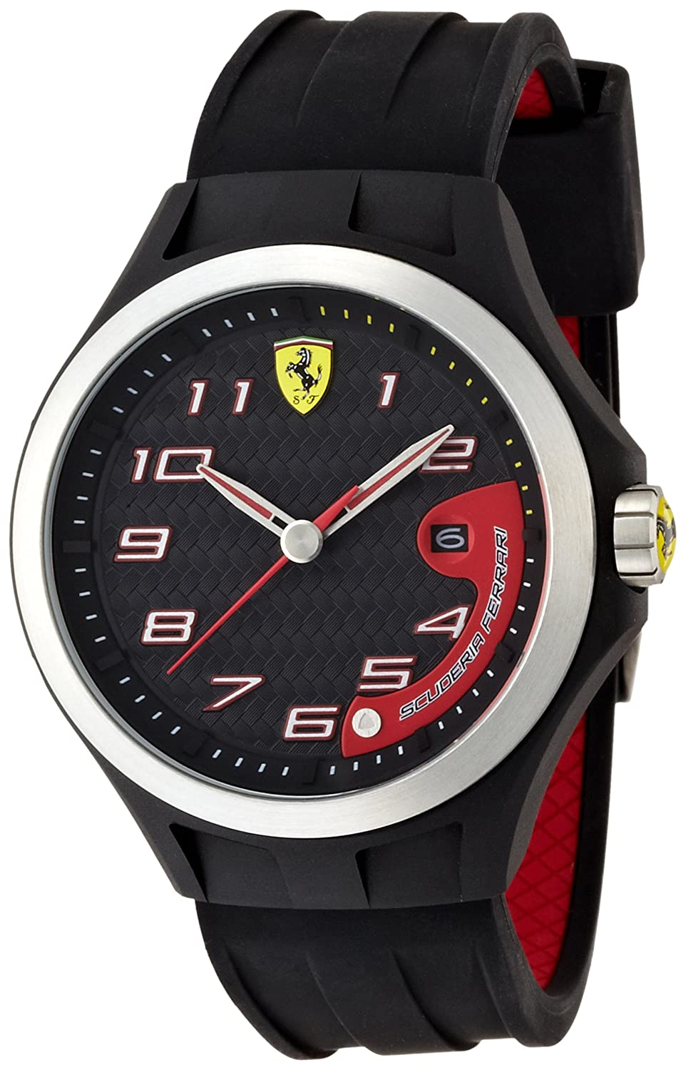 casual steel does com much quartz model watches black watch a leather dp how color and pilota ferrari s men scuderia stainless amazon cost