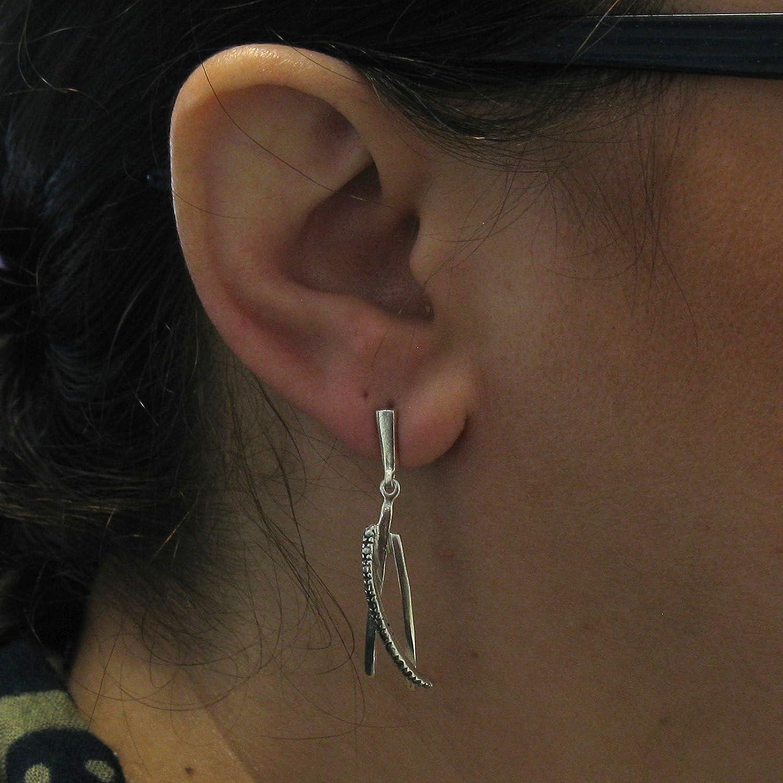 Orecchini pendenti lunghi in argento sterling massiccio 925 E000720