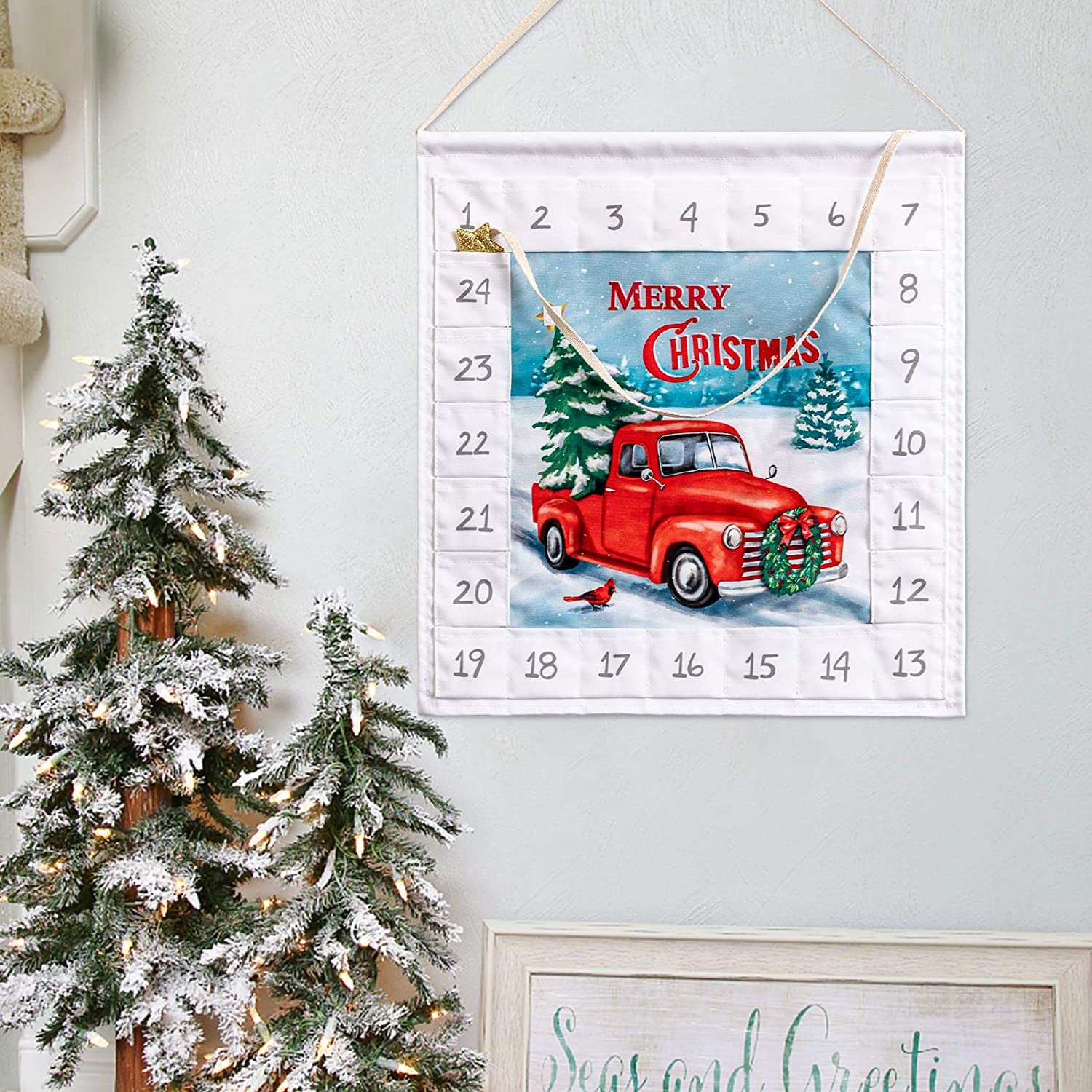 hogardeck Advent Calendar 2020 with 24 Pockets 14.7IN Wall Hanging Bag Indoor/Outdoor Wall Decor Countdown to Christmas Decoration