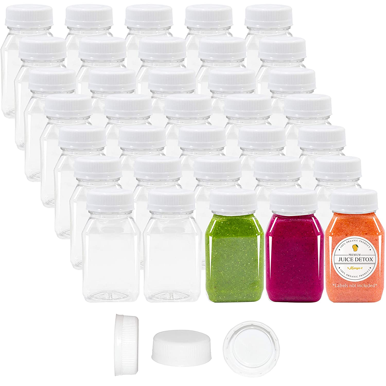 4 oz Empty Plastic Juice Bottles with Lids 98 Bulk Pack Small Clear Milk Drink Syrup Kids Size Containers Tamper Proof Caps Wholesale